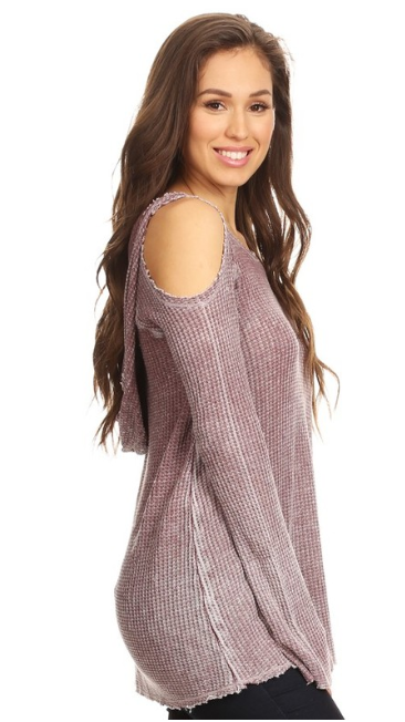 Burnout Cold Shoulder Top