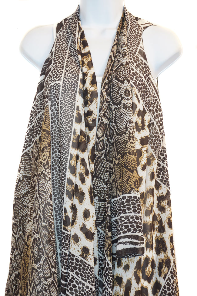 Leopard Patches Scarf Vest