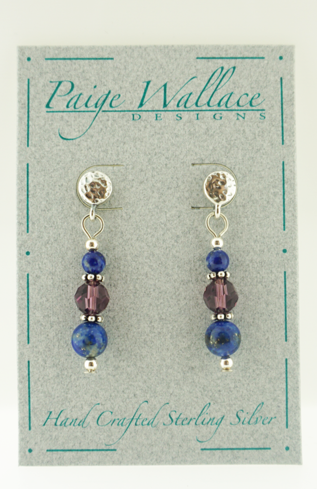 Lapis & Crystal Post Earrings