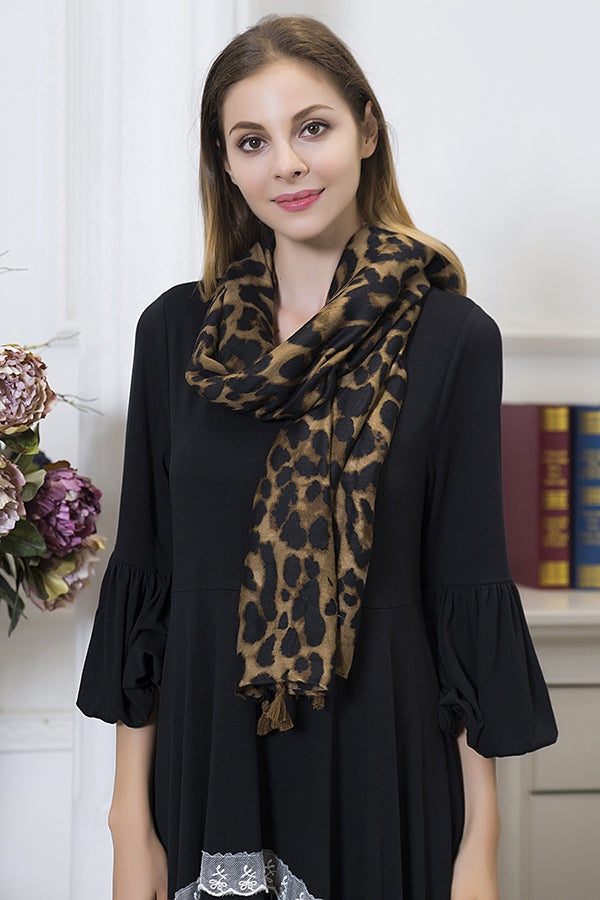 Leopard Scarf with Fringe