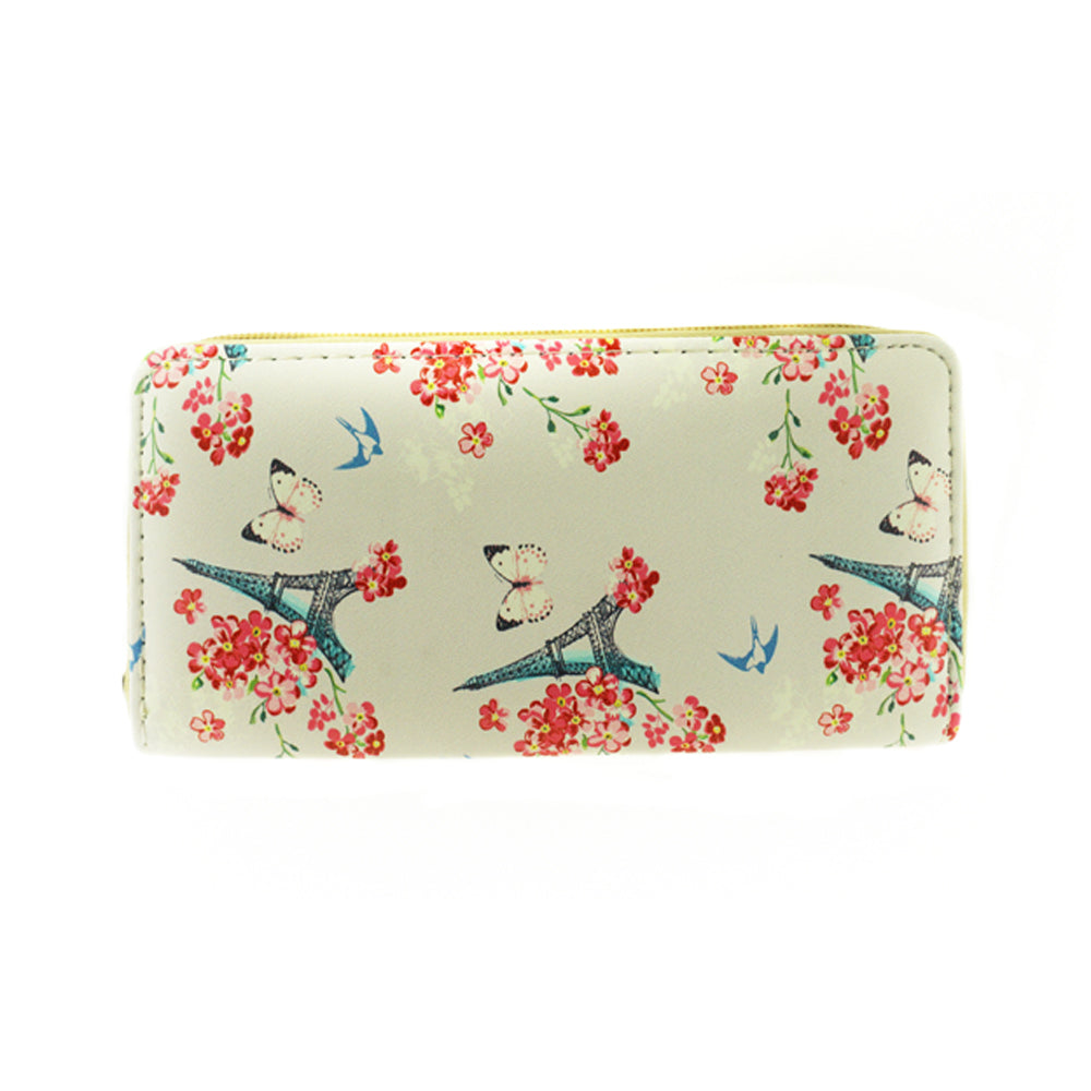 Flower and Eiffel Tower Print Wallet