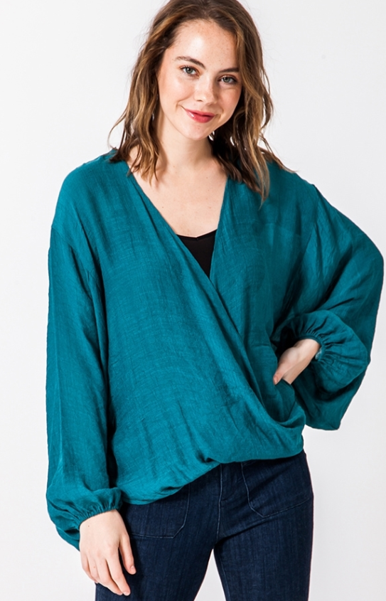 Long Sleeve Poncho Crossover Shirt