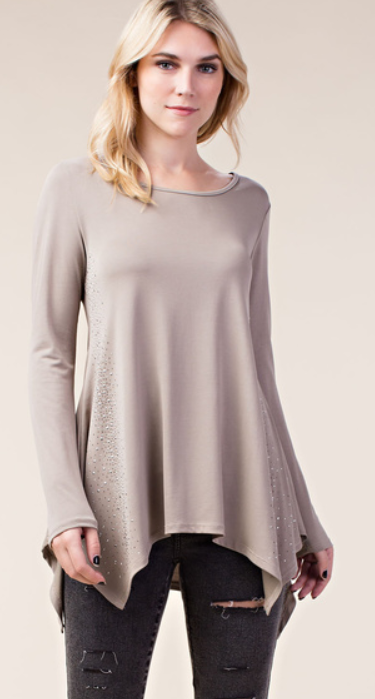 Long Sleeve Top with Stone Sides