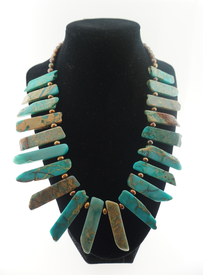 Turquoise Jasper Stick Necklace w/Pearls
