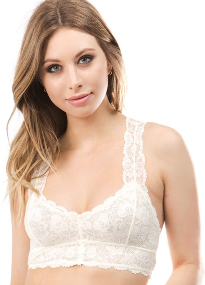 Sweetheart Neckline Lace Bralette with Wide Straps