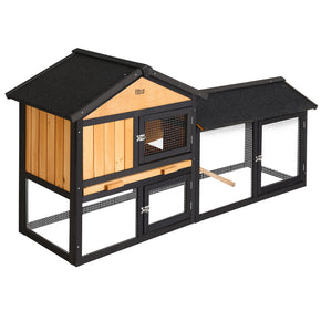 i.Pet Rabbit Hutch Hutches Large Metal Run Wooden Cage Waterproof Outdoor Pet House Chicken Coop Guinea Pig Ferret Chinchilla Hamster 165cm x 52cm x 86cm