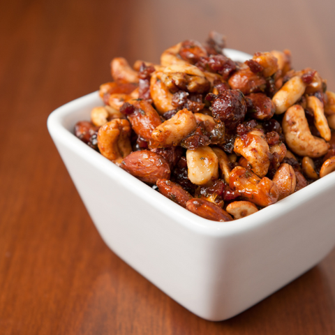 Sweet spiced nuts sweetened with raw honeycomb