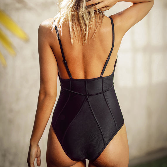 Free Space Solid One-piece Swimsuit