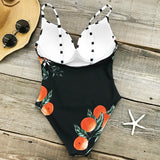 Orange Angel Print One-piece Swimsuit