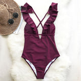 Burgundy Heart Attack Falbala One-piece Swimsuit