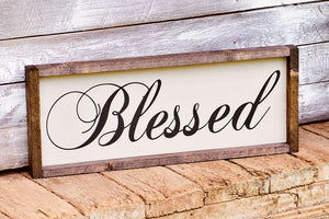 Christian Wall Art - Blessed Sign - Rustic Home Decor