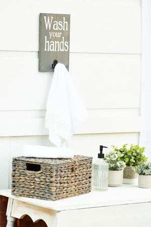 Wash Your Hands Bathroom Organizer Hook Sign