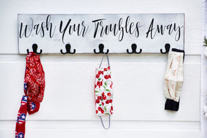 Wash your troubles away towel, backpack & mask holders