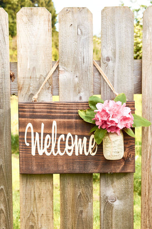 Brown Rustic Sign for Front Door - Welcome Guests Sign - Gift for Her