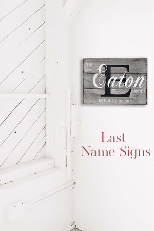 Rustic Family Home Sign - Last Name Sign - Family Name Sign