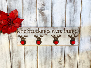Christmas Stocking Reindeer Holder - Red Roan Signs | Custom Rustic Home Decor