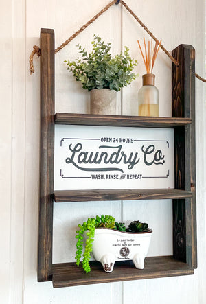 Farmhouse Laundry Room Decorative Functional Shelf