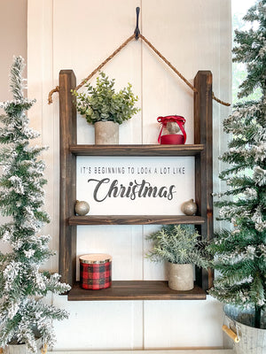 Farmhouse Christmas Decor Decorative Functional Shelf