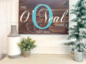 Family Teal Initial Sign - Last Name Sign - Wooden Family Sign