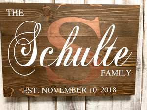 Family Initial Sign - Last Name Sign - Wedding Gifts