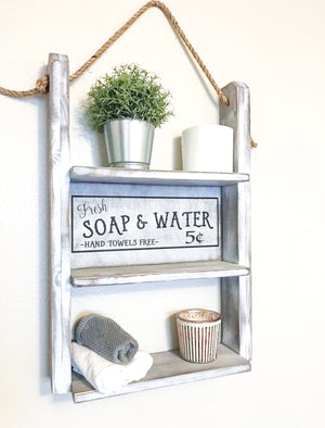 Farmhouse Bathroom Decor Decorative Functional Shelf