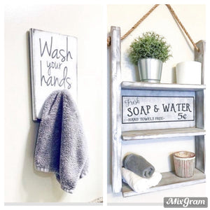 Farmhouse Bathroom Decor Decorative Functional Shelf & Sign Combo