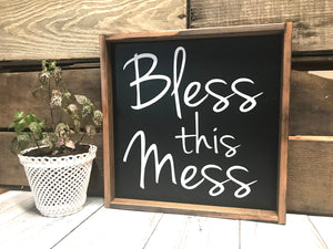 Rustic Living Room Decor - Framed Wooden Sign - Bless This Mess