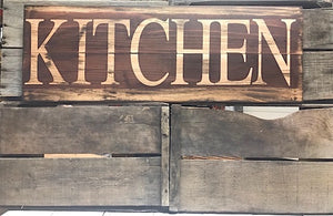 Farmhouse Home Decor - Brown Wood Kitchen Sign - Red Roan Signs | Custom Rustic Home Decor