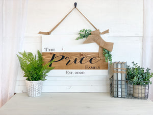 Personalized Family Name Burlap Wood Sign