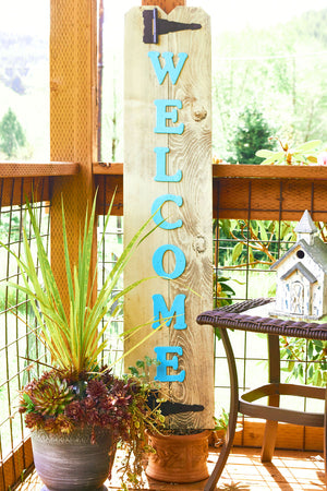 Large Teal Wood Welcome Sign