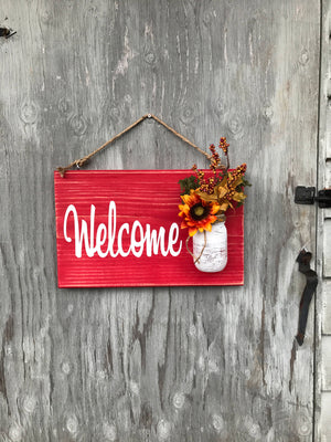 Barn Red Welcome Wood Sign - Red Entryway Sign - Gift for Her - Red Roan Signs | Custom Rustic Home Decor