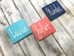Colorful Custom Name Sign Wood Hooks For Kids - Red Roan Signs | Custom Rustic Home Decor