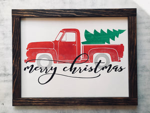 Red Truck Merry Christmas Sign - Christmas Decor - Christmas Decorations - Red Roan Signs | Custom Rustic Home Decor