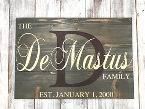 Rustic Family Name Sign - Family Initial Name Sign - Last Name Sign - Red Roan Signs | Custom Rustic Home Decor