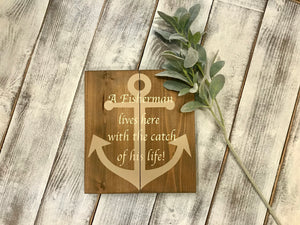 Anchor Wood Sign - Sign for Dads  - Fisherman Sign - Father's Day Gift - Red Roan Signs | Custom Rustic Home Decor