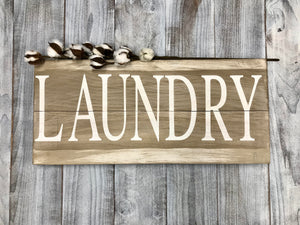 Rustic gray Laundry Wood Sign - Laundry Decor Sign - Red Roan Signs | Custom Rustic Home Decor