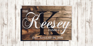Family Established Wood Signs - Anniversary Gift - Red Roan Signs | Custom Rustic Home Decor