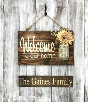 Rustic Farmhouse Decorating Ideas - Welcome Wood Sign - Personalized Anniversary Gift - Red Roan Signs | Custom Rustic Home Decor