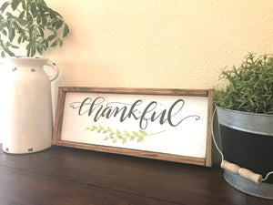Thankful Fall Decor Wood Sign