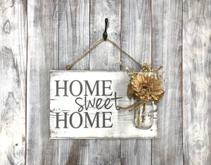 Rustic Chic Home Decor Wood Sign - Home Sweet Home - Red Roan Signs | Custom Rustic Home Decor