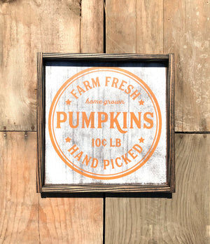 Farm Fresh Pumpkin Patch Fall Wood Sign - Red Roan Signs | Custom Rustic Home Decor