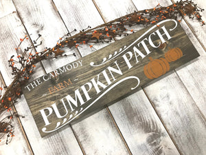 Personalized Name Pumpkin Patch Fall Decor Sign - Red Roan Signs | Custom Rustic Home Decor