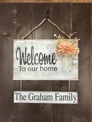 Welcome Front Porch Sign - Red Roan Signs | Custom Rustic Home Decor
