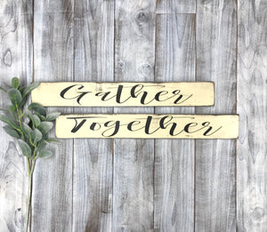Gather Together Kitchen Signs - Rustic Kitchen Sign Set - Kitchen Decor - Red Roan Signs | Custom Rustic Home Decor