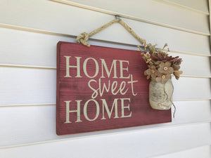 Rustic Americana Home Decor - Home Sweet Home with Mason Jar - Red Roan Signs | Custom Rustic Home Decor
