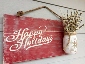 Rustic Christmas Decor - Rustic Holiday Decorations - Wood Sign - Red Roan Signs | Custom Rustic Home Decor
