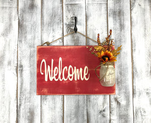 Country Welcome Farmhouse Sign - Front Porch Decor - Red Roan Signs | Custom Rustic Home Decor