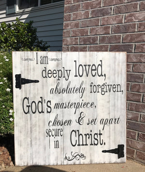 Christian Wall Art - Large Wood Sign - Deeply Loved - Red Roan Signs | Custom Rustic Home Decor