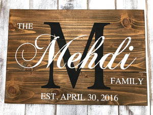 Family Name Wedding Sign - Personalized Custom Name Sign for Wedding - Red Roan Signs | Custom Rustic Home Decor