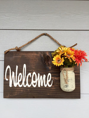 Brown Rustic Sign for Front Door - Welcome Guests Sign - Gift for Her - Red Roan Signs | Custom Rustic Home Decor
